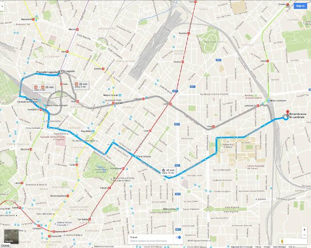 Milan Tram 33 interactive Google route map from Isola to Porta Garibaldii Station, Piazza della Repubblica, Giardini Pubblici, Porta Venezia district, Citta Studi, terminating near Lambrate Station