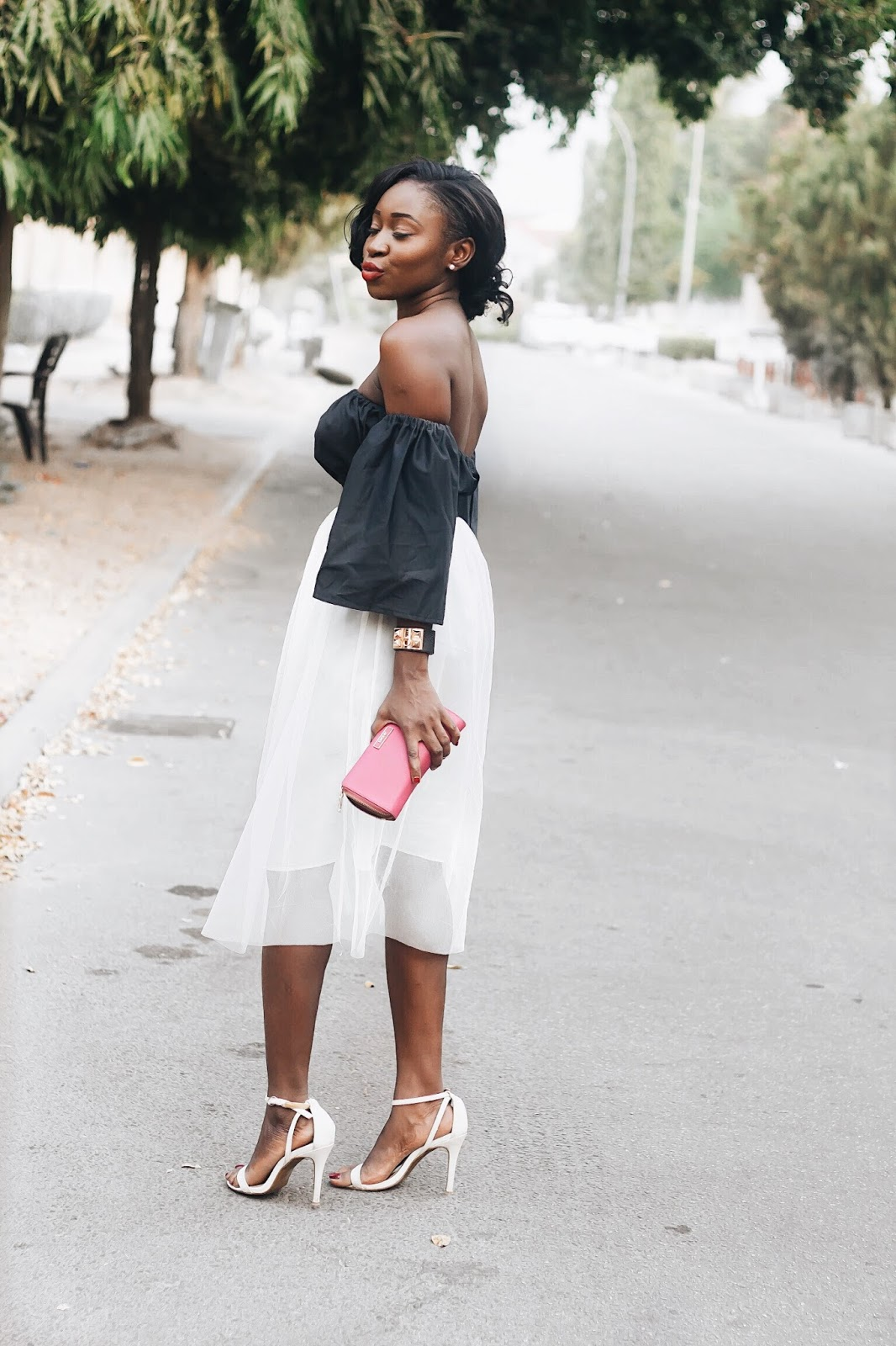 the perfect skirt ti wear with an off the shoulder top
