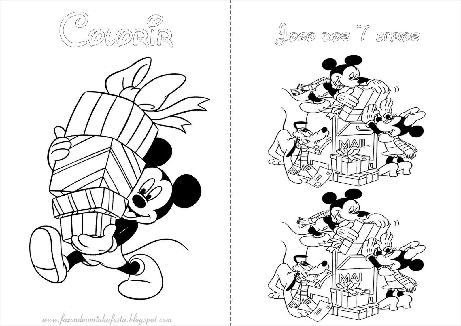 Fazendo A Nossa Festa Colorir Mickey E Minnie Natal Livrinho