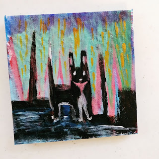 Color acrylic painting of dog