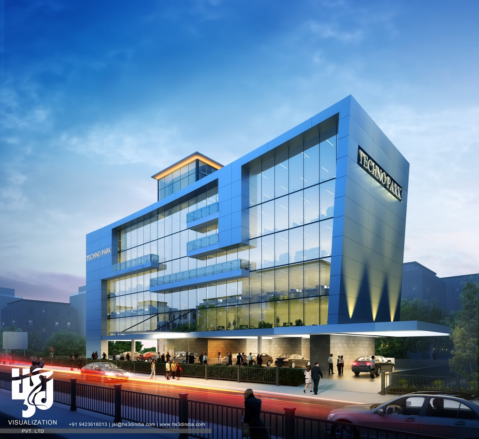 Hotel Exterior: 3D ARCHITECTURAL VISUALIZATION: 3D EXTERIOR NIGHT RENDERING