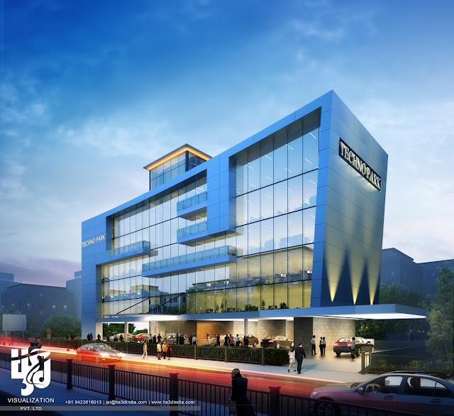 3d architectural visualization 3d exterior night rendering for Modern design building services ltd