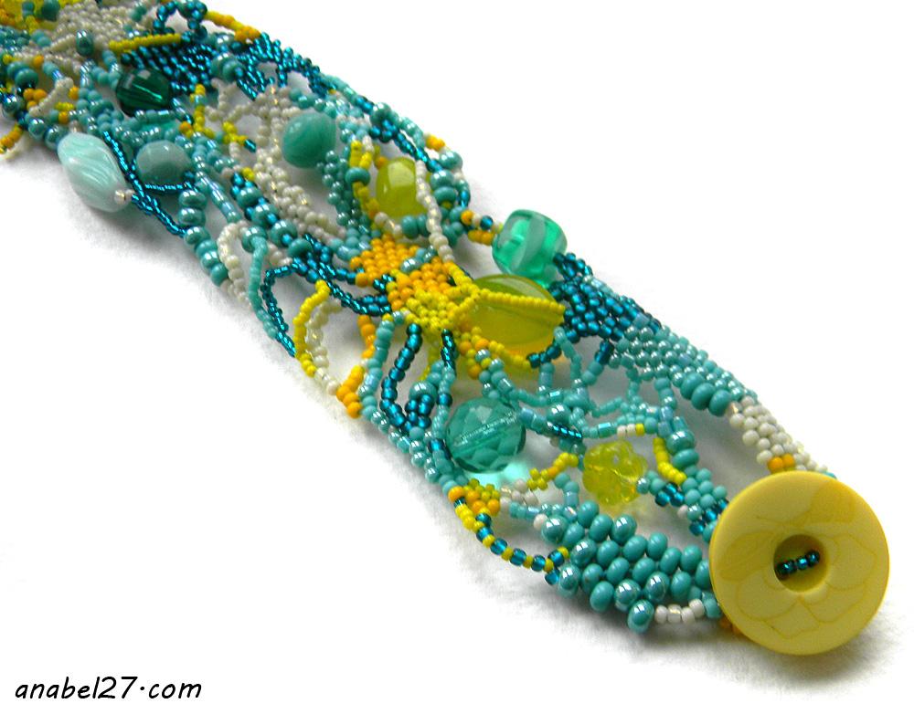 украшения из бисера где купить желтый и бирюзовый яркий браслет на руку