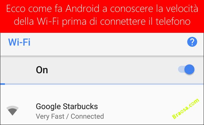 come fa android a riconoscere la velocita della WI-FI prima di connettersi alla rete