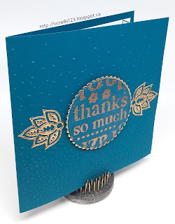 Linda Vich Creates: Stitched World of Thanks. A lot of texture achieved in this clean and simple thank you card by using the Softly Falling embossing folder, World of Thanks stamp, and Paisley Framelits.