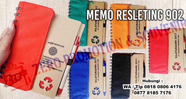 Memo Resleting bening Ekonomis dan praktis, agenda ekslusif, notebook, notes, Memo Cokelat + Kantong + Pen 902, Souvenir Dompet memo Resleting. Souvenir daur ulang berupa memo