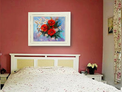 Original painting Bouquet  Flowers Poppies