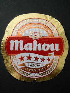 etiqueta de botella de cerveza mahou cinco estrellas