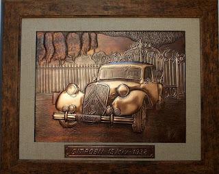 metaloplastie pe tabla de cupru, masina de epoca citroen, tablouri, masini, arta plastica, lucru manual, masini de epoca,