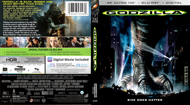 Godzilla (1998) 4k UHD Bluray Cover