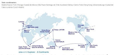 Mapa ruta Oneworld Explorer, vuelta al mundo, round the world, La vuelta al mundo de Asun y Ricardo, mundoporlibre.com