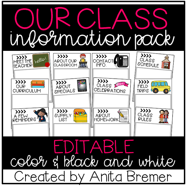 EDITABLE class information pack to help communicate with parents!