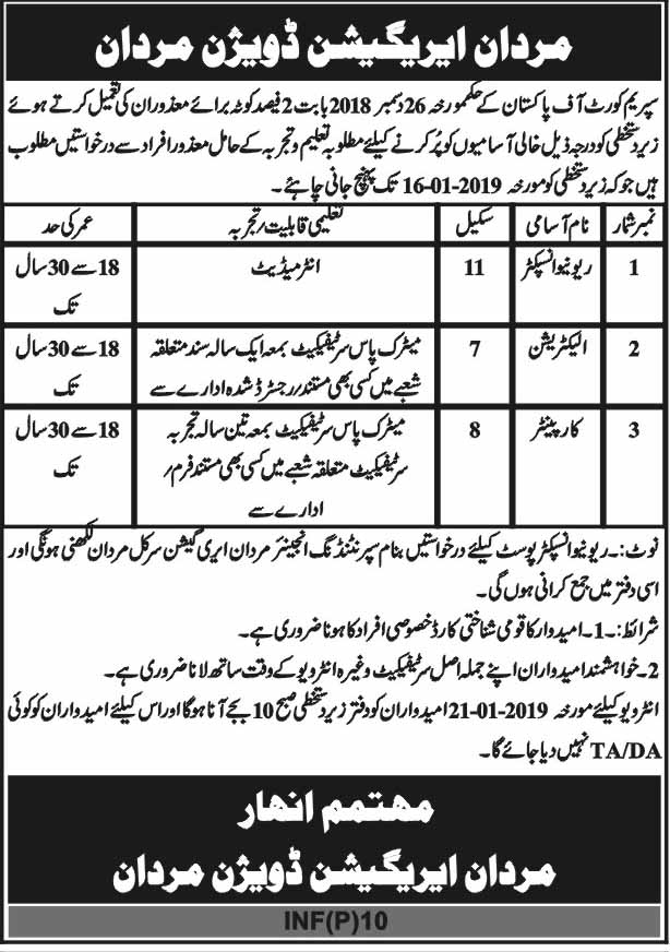 Jobs in Mardan Irrigation 2019 newpakjobs.com