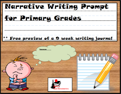 Free narrative writing journal for 1st grade or 2nd grade students - from Raki's Rad Resources.