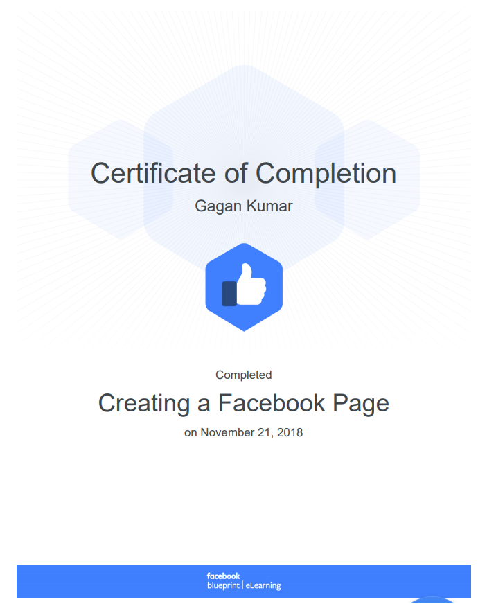 Certificate By Facebook  (Gagan Kumar)
