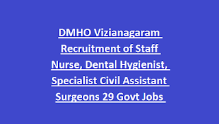 DMHO Vizianagaram Recruitment of Staff Nurse, Dental Hygienist, Specialist Civil Assistant Surgeons 29 Govt Jobs Notification 2018