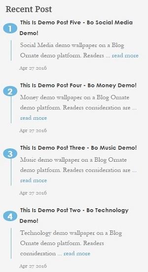 Simple recent posts widget for blogger