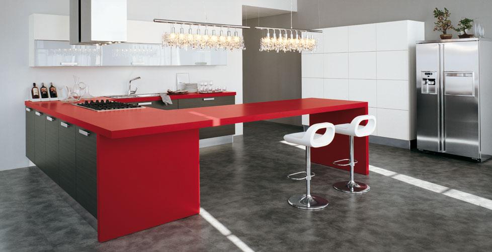 Cocinas en rojo pasi n cocinas con estilo for Cocina blanca encimera roja