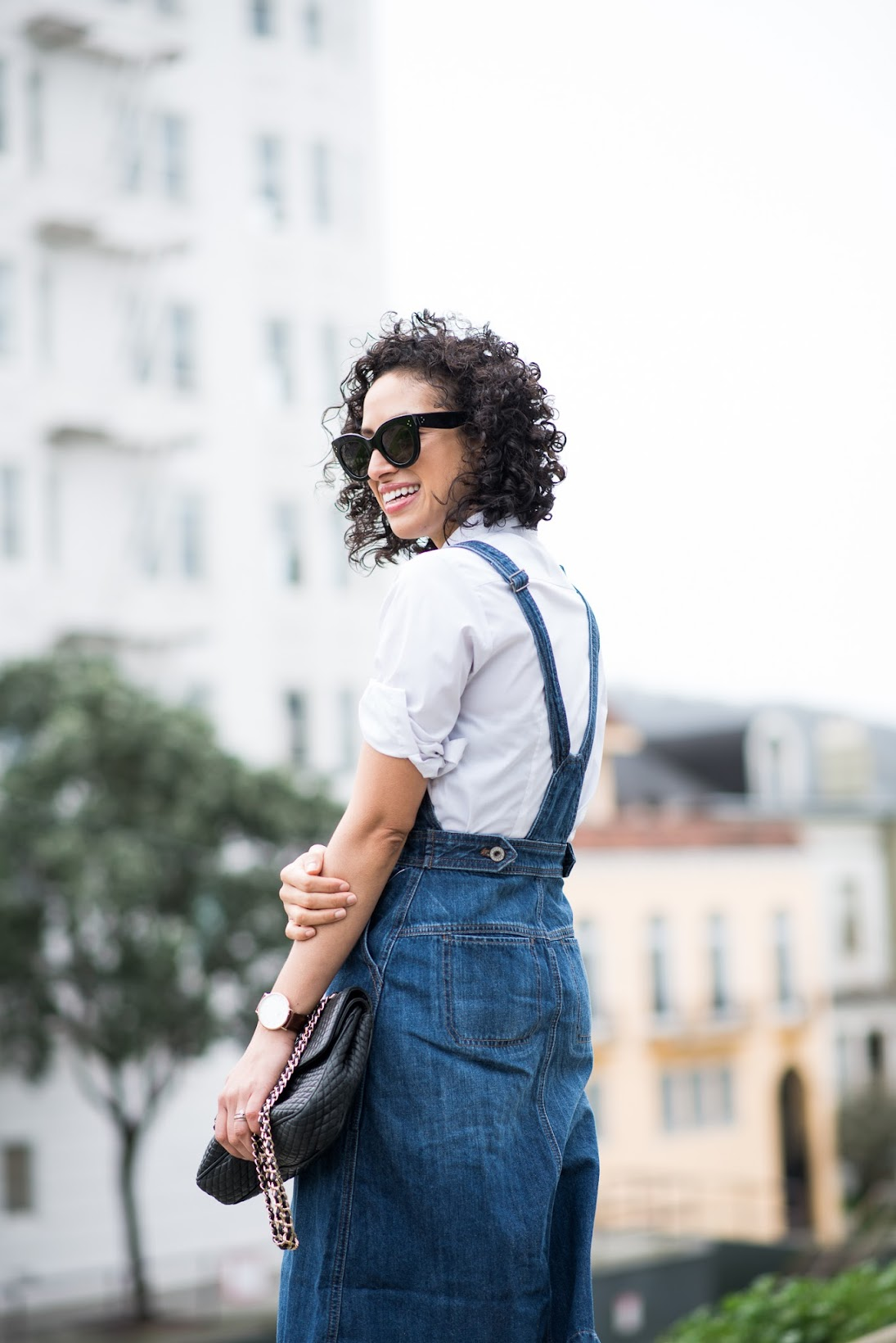 Zappos Style, Zappos, ShopStyle, Coach Smith pumps, Lucky Brand overall dress, Jack by BB Dakota tweed coat, curly hair bob, Céline cateye sunglasses, SF style blog, San Francisco style