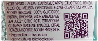 composition Eau micellaire à l'eau de mélisse bio