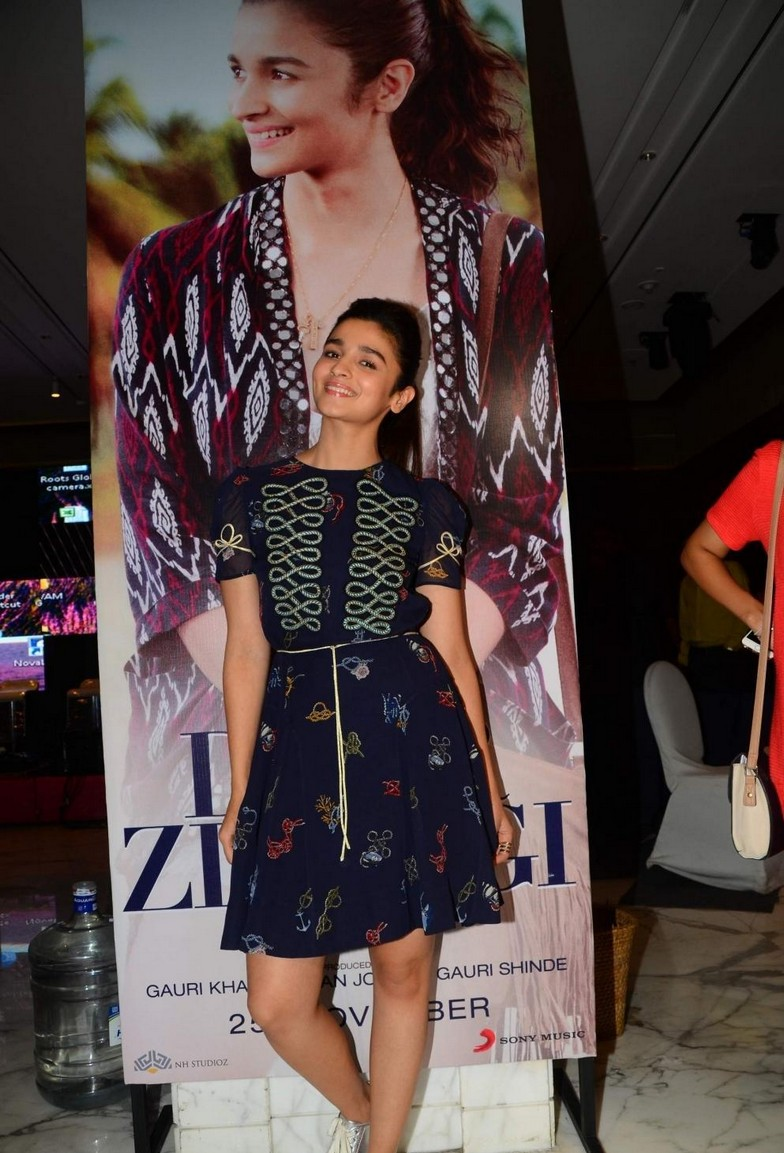 Alia Bhatt At Movie Promotions In Blue Mini Skirt
