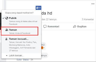 Privasi Status Facebook Teman