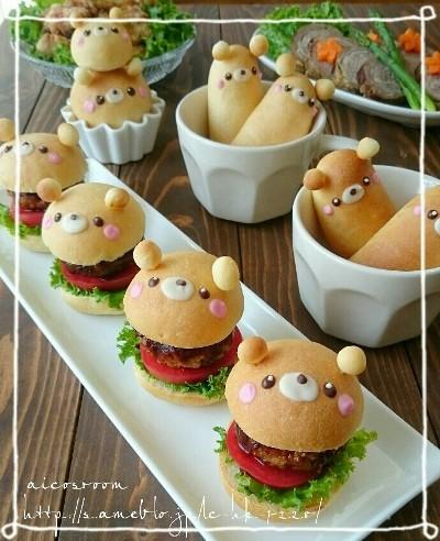 Roti burger bentuk beruang
