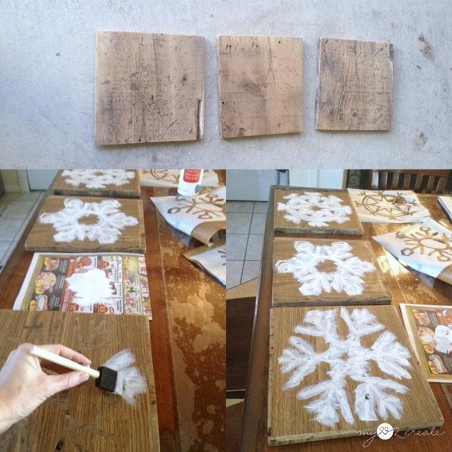 stencil on snowflakes