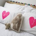 DIY Neon Heart Initial Pillows