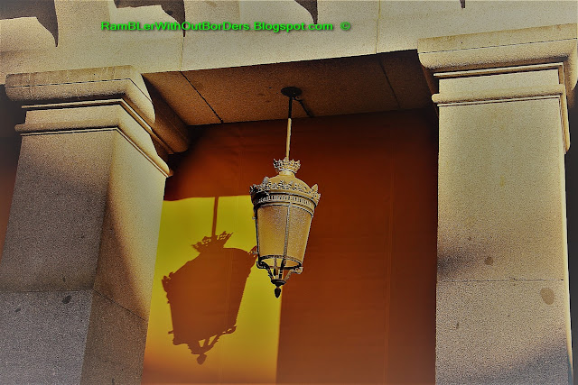 Arcade lamp, Plaza Mayor, Madrid, Spain