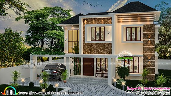 Sloping roof style Kerala home design