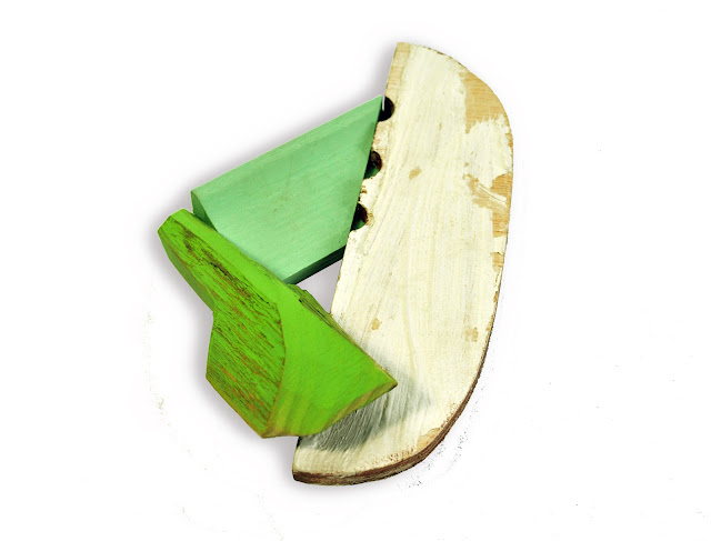 brooch recovered wood acrylic paint jewellery  Eva Burton