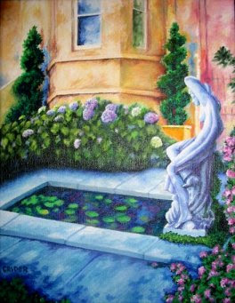tuscan garden  classical garden and house painting by artist Jillian Crider