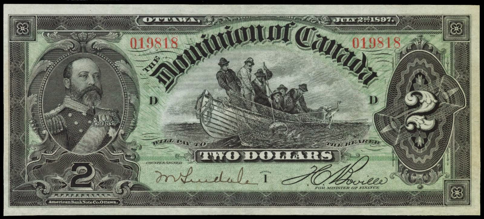 Dominion of Canada 2 Dollar note bill 1897