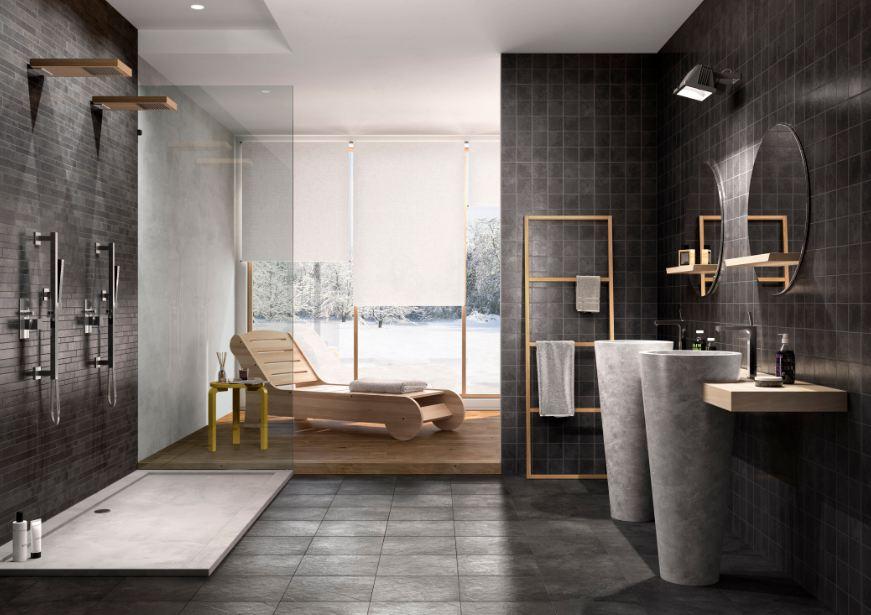 Bagno con piastrelle grigie - Piastrelle pavimento bagno ...