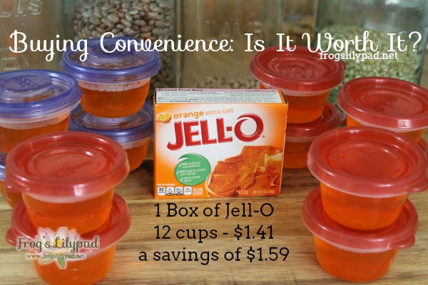 Buying Convenience is a big money spender. I buy ingredients not convenience. I'm sharing about saving money with Jell-O. frogslilypad.net