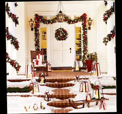Christmas front door porch decorations ellecrafts for B q christmas decorations