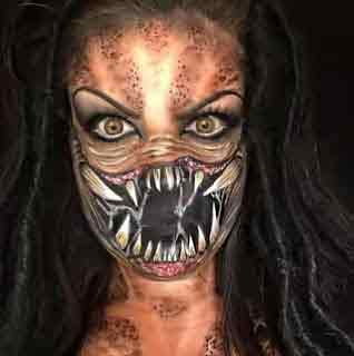 Makeup artist transforms herself into frightening movie characters