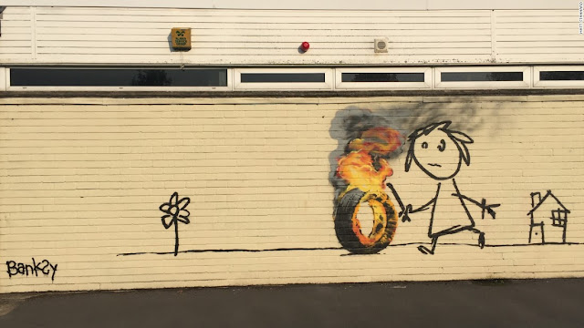 Banksy piece on a Bridge Farm Primary School building in Bristol that the children named after him (June 2016)