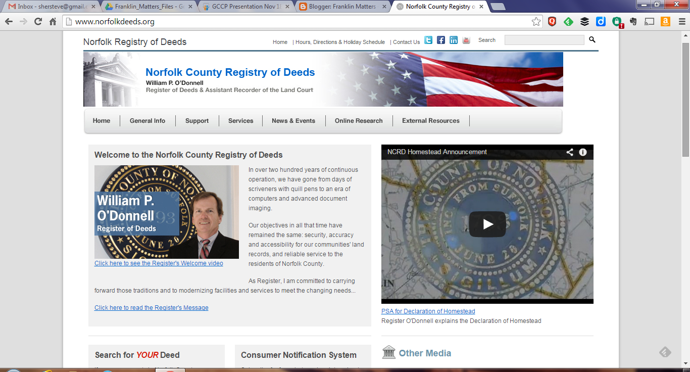 screen grab of Norfolk County Registry of Deeds