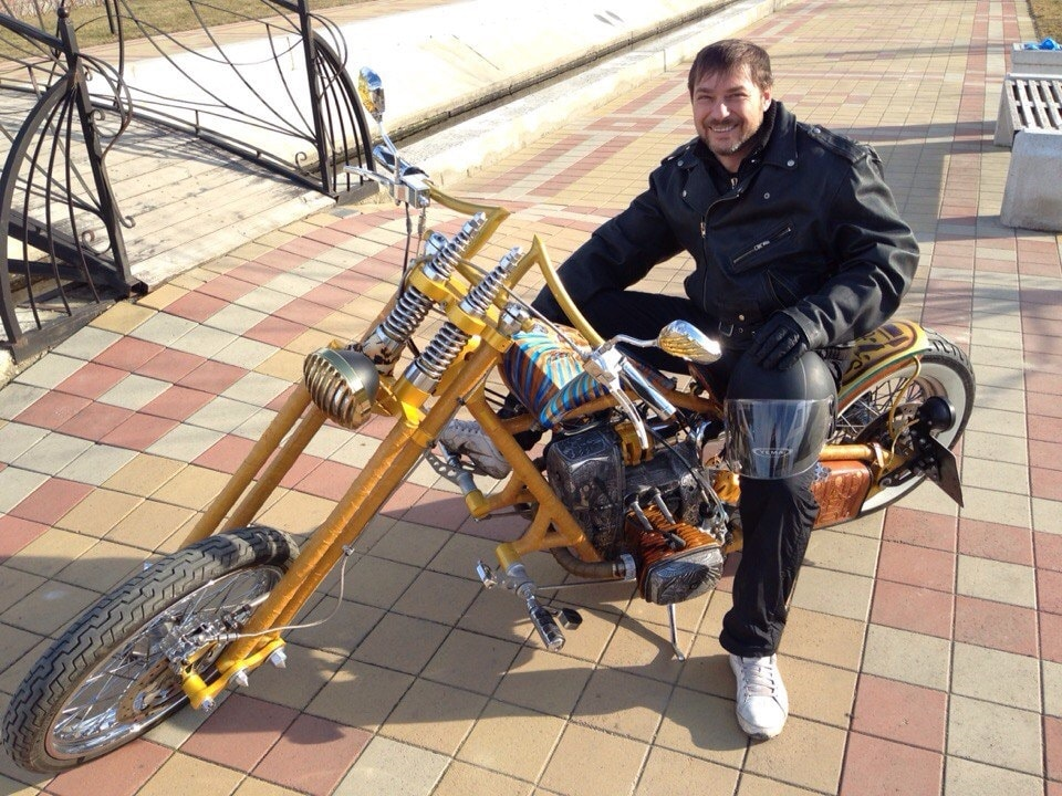 the creator and owner of this exclusive custom chopper Dnepr