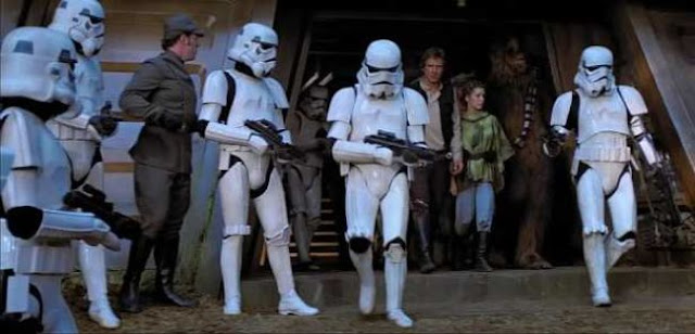 Imperial stormtroopers capture the rebels on Endor