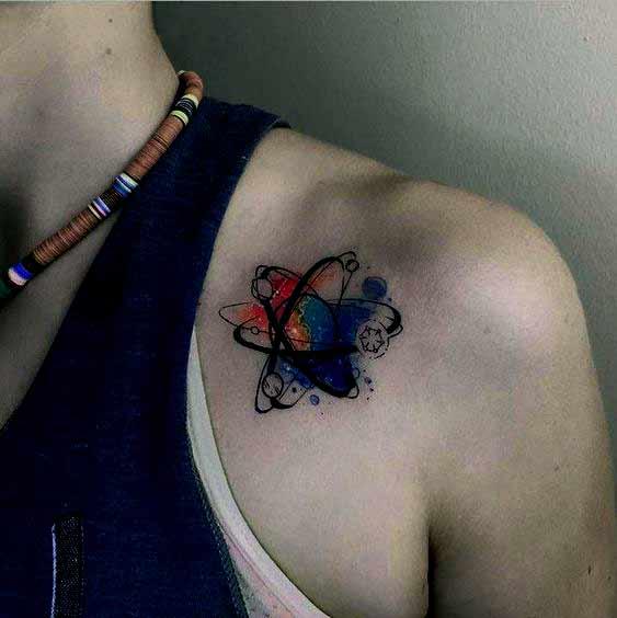 Beautiful atom tattoo design on shoulder for men