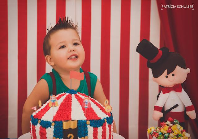 2 aninhos Arthur tema circo palhaço bolo Patrícia Schüller Fotografias