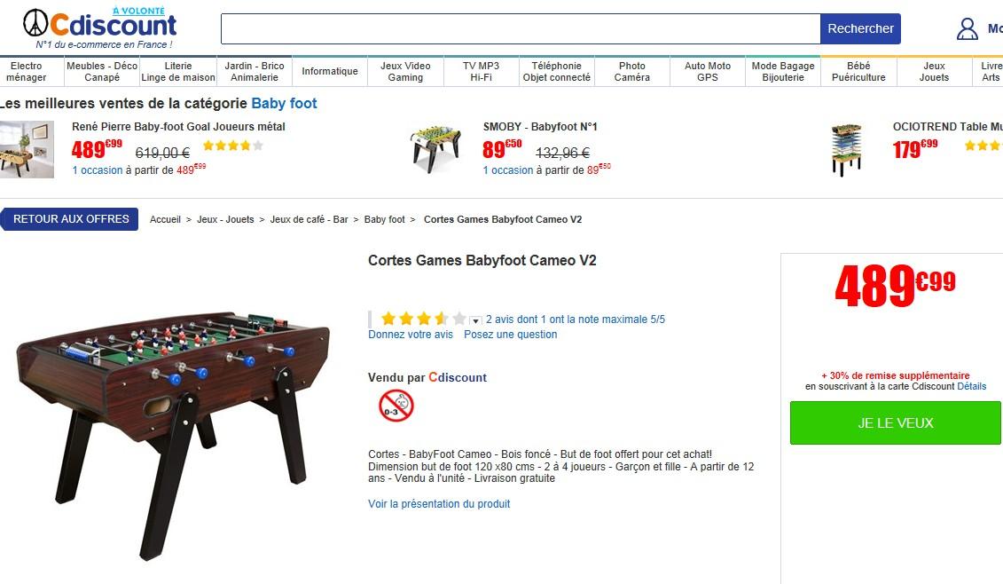 ventes privees sur internet babyfoot showrrompriv. Black Bedroom Furniture Sets. Home Design Ideas