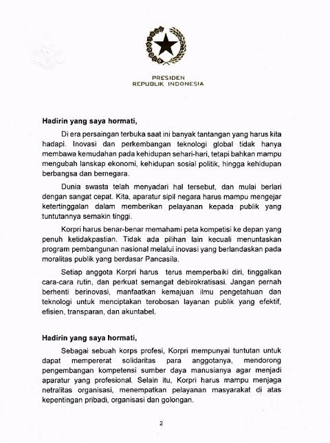 Sambutan Tertulis Presiden RI Pada HUT Ke-46 KORPRI Tahun 2017