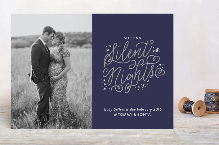 Pregnancy announcement holiday photo cards