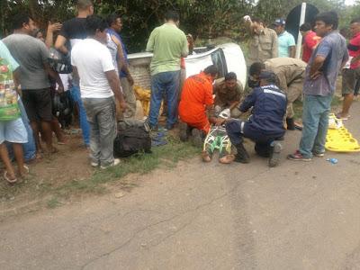 Caminhonete da FUNAI tomba entre Santa Inês e Pindaré-Mirim e deixa dois indígenas feridos