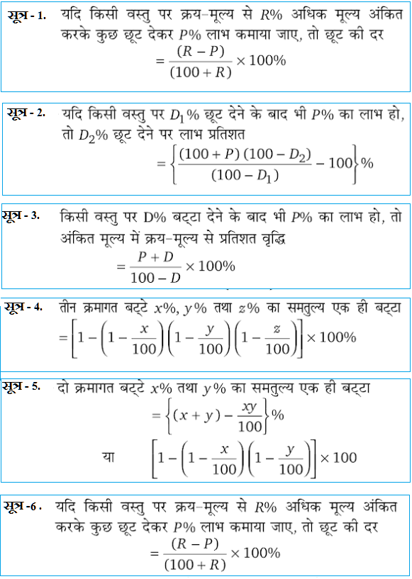बट्टा - ( छूट )  के महत्त्वपूर्ण सूत्र  Formula of  Discount in hindi