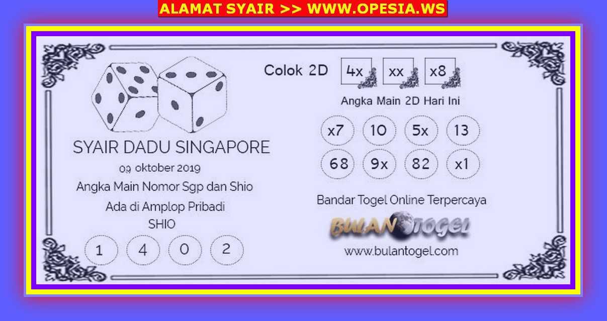 Kode syair Singapore Rabu 9 Oktober 2019 46